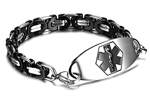 Figaro Style Medical Id Bracelet - JF.JEWELRY Two-Tone Figaro Stainless Steel Link Medical Alert ID Bracelet for Men and Women,7.9 Inch