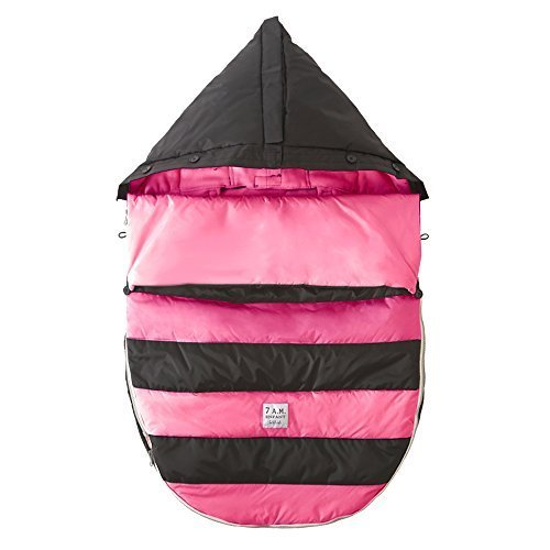7 A.M. ENFANT Bee Pod Baby Bunting Bag for Strollers and Car-Seats with Removable Back Panel, Black/Neon Pink, Medium/Large by 7A.M. Enfant