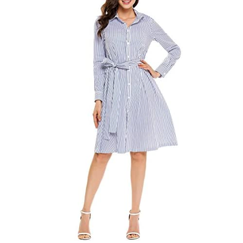 Nice Fanala Women Casual Vertical Stripe Long Sleeve Pleated Belted Midi Shirt Dress for cheap