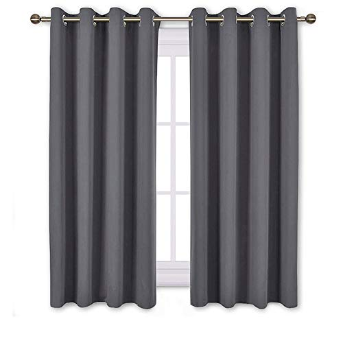 NICETOWN Bedroom Blackout Curtains Panels - Window Treatment Thermal Insulated Solid Grommet Blackout for Living Room (Set of 2 Panels, 52 by 54 Inch,Grey)