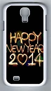2014 Happy New Year Light Painting Bokeh PC Hard Case Cover For Samsung Galaxy S4 SIV I9500 Case and Cover White
