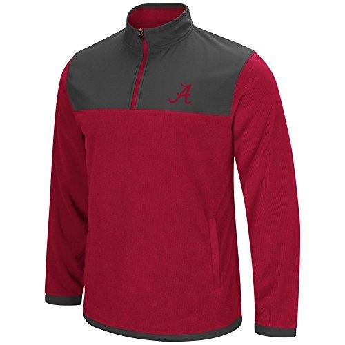 Colosseum Men's NCAA-Blocker Corded Polar Fleece-Full Zip Jacket-Alabama Crimson Tide-Crimson-XXL -