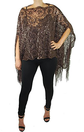 Love My Seamless Women's Mother Of The Bride 2-Way Wear Beaded Lace Shawl Poncho Cover up Top (Brown)