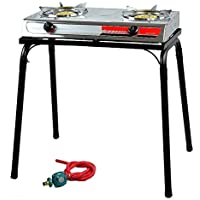 9TRADING Portable Propane Gas lpg Stainless Stove Stand Dual Burners Cook with Stand, Free Tax,Delivered Within 10 Days