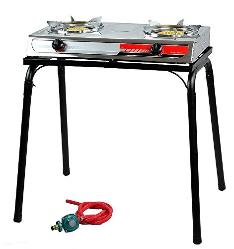 Free Cast Iron Gas Stove - Eight24hours Portable Propane Gas Gasoline lpg Stainless Stove Stand Dual Burners Cook Stand Only Free E - Book