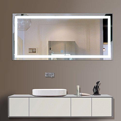 DECORAPORT 60 Inch 28 Inch Horizontal LED Wall Mounted Lighted Vanity Bathroom Silvered Mirror with Touch Button (A-CK010-C)