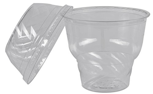 Green Direct Ice Cream Cup / Fabulous 12 oz. Ice Cream, Yogurt, Candy Cups and Lids Pack of 100 (Silver Baby Cup With Lid)