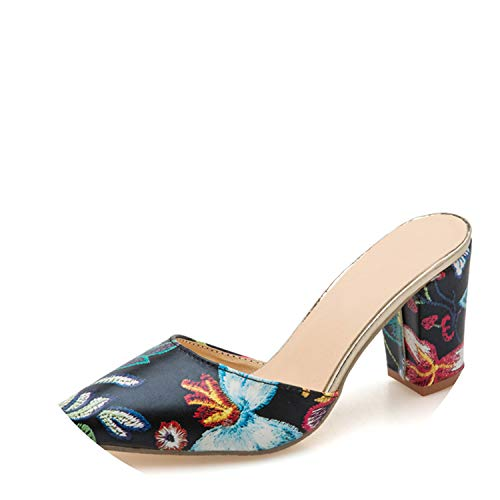 Sky-Pegasus Beautiful Sandals Flower Printing Slippers for for for Woman Female High Heels Colorful Chunky Heel Summer... B07H9X82MB Parent 0e02bf