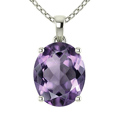 (Belinda Jewelz Womens 14k White Gold Oval Shape Cut Gemstone Rhodium Plated Sparkling Prong Sterling Silver Fine Jewelry Classic Chain Hanging Pendant Necklace, 1.8 Carat Amethyst Purple, 18 inch)