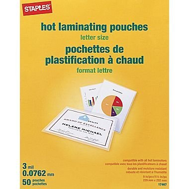 Staples Letter Size Thermal Laminating Pouches, 3 mil, 50 (3 Mil Letter Laminating Pouch)