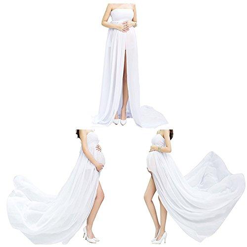 Mujer Embarazada Gasa Larga Vestido de maternidad Split Vista delantera foto Shoot Dress Faldas fotográficas de maternidad Blanco