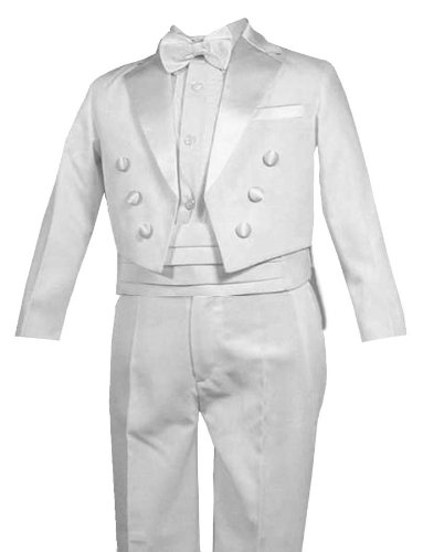 Gino Giovanni Ring Bearer Boys Tuxedo Tail Suit Tux Set White From Baby to Teen