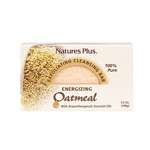 - Natures Plus Oatmeal Cleansing Bar - 3.5 oz - All Natural Bar Soap with Aromatherapeutic Essential Oils, Exfoliates & Moisturizes, Great for Sensitive Skin - Vegan