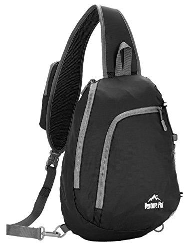 Venture Pal Sling Shoulder Crossbody Bag Lightweight Hiking Outdoor Travel  Backpack Daypacks (Black) 5aff0444adb74