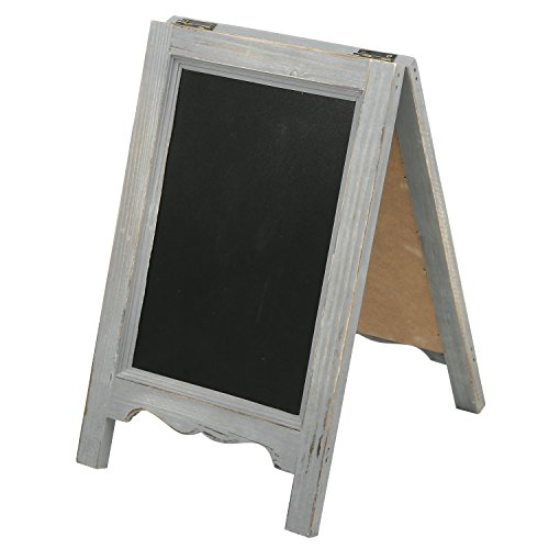 Sided Chalkboard Double Reversible (MyGift 15-inch Mini Tabletop Gray Wood A-Frame Double-Sided Chalkboard Sign Easel)