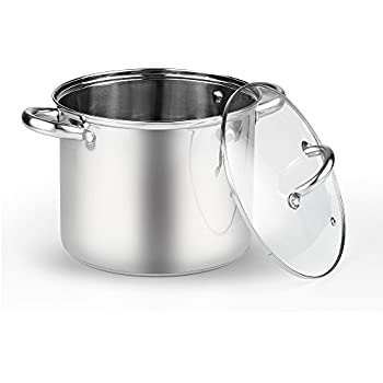 Cook N Home 6.5 Quart Stockpot with Lid, Stainless Steel