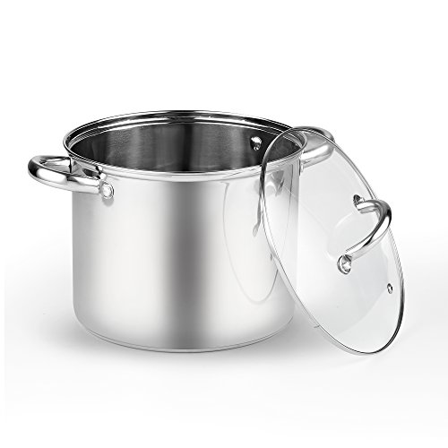 Cook N Home 2480 Stockpot with Lid, 6.5 quart, Stainless - Pot Safe Dishwasher Stock