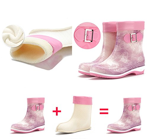 with Decoration Girl Middle Snow Overshoes Inner Rain Shoes Purple for Watering ACTNOW Buckle Plush Boots Female Lady with Women Rain 7fBq71