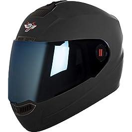 Steelbird SBA-1 7Wings Full Face Helmet in Matt Finish (Medium 580 MM, Axis Grey with Blue Visor)