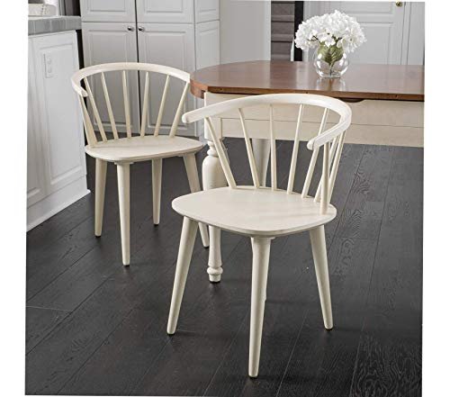 Premium Countryside Rounded Back Spindle Dining Chair, Antique White