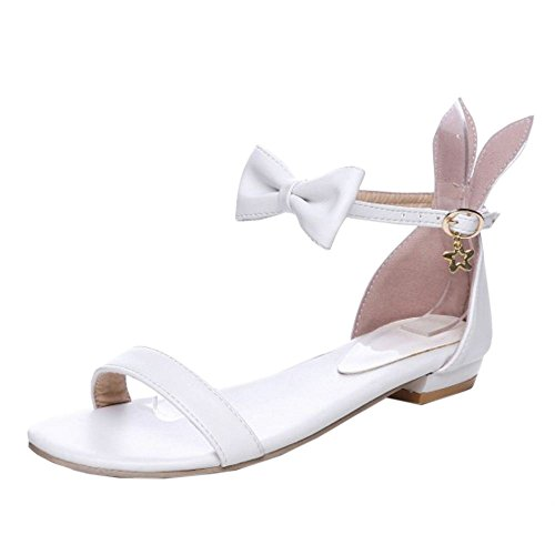 Coolcept Women Cute Ankle Strap Sandals Flats White TodpZpZWy7