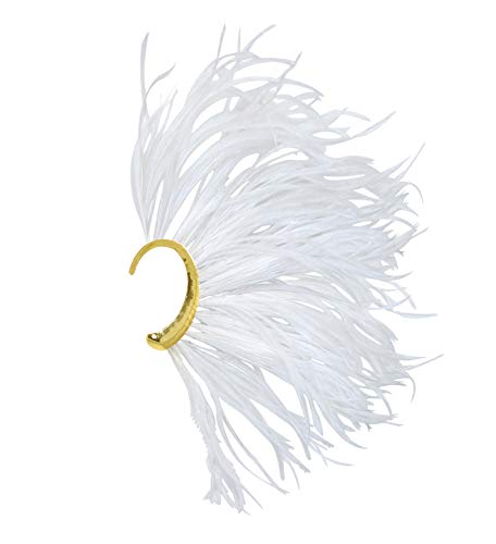 L'vow White Natural Ostrich Feather Single Ear Wrap Non Piercing Cuff Earring (White) ()