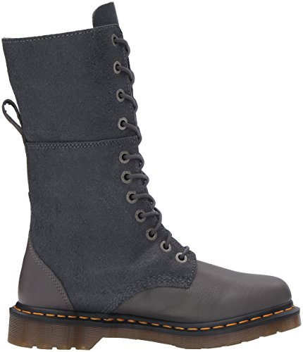 Dr. Martens Women's Hazil Black Virginia Leather Fashion Boot, Dark Brown Virginia/Darkened Suede, 7 UK US Lead