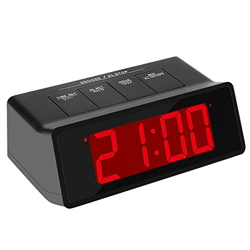 KWANWA Loud Alarm Clock Battery Operated with Big 1.2'' Red LED Time -
