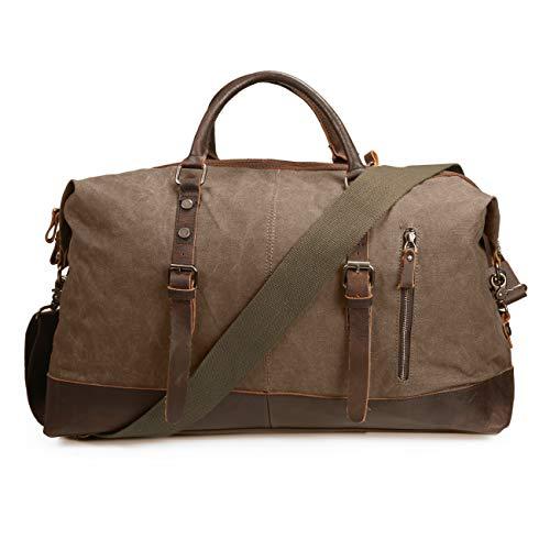 - ECOSUSI Vintage Canvas Sport Tote Gym Bag Overnight Shoulder Bag Weekend Travel Duffel Bag Coffee