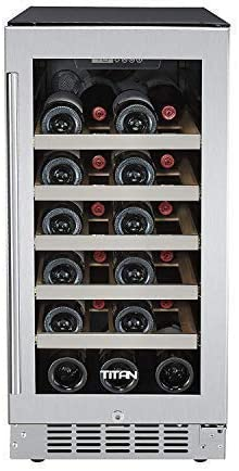 15 inch 25 Bottles, Built in, Single Zone Wine Cooler, Roller Glide Wooden Shelves, Seamless Stainless Steel Door, Temp Memory, Door Open High Temp Alarm