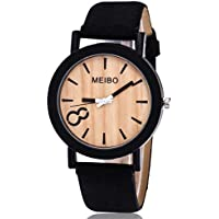 Womens Watch,Howstar Casual Simple Wooden Quartz Unisex Watch Wooden Color Leather Watches