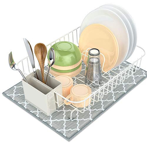 - Dish Drying Rack, Packism Dish Drainer with Dish Drying Mat, Rustproof Dish Rack with Utensil Holder for Kitchen Countertop Wire Dish holder, White