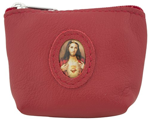 Venerare Italian Leather Rosary Pouch Case (Red, Sacred Heart of Jesus) by Venerare