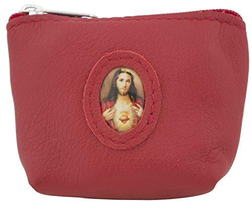 Venerare Italian Leather Rosary Pouch Case (Red, Sacred Heart of Jesus) Heart Italian Cross