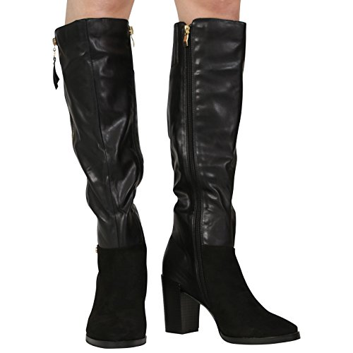 BLOCK 8 HEEL Pu CALF Black SIZE HIGH 3 WINTER SHOES LADIES RIDING WOMENS KNEE NEW Leather BOOTS 1wOqEa