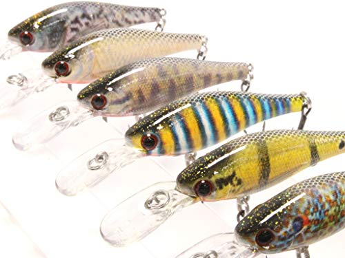 wLure 6 Lures per Pack Minnow Fishing Lures Lifelike 3 1/3 inch 1/4 oz HM515KB (HM515KB, with Tackle Box)