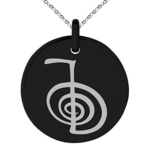 Black Stainless Steel Reiki Cho Ku Rei Power Symbol Engraved Small Medallion Circle Charm Pendant Necklace (Medallion Black Power)