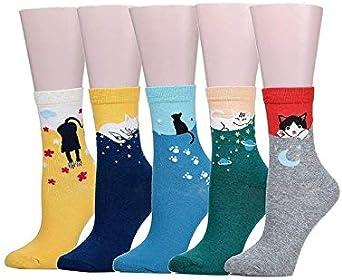 Lote de 5 pares de calcetines de algodón 100% con diseño de gatito, calcetín corto estampado de gatito, regalo de Navidad divertido y divertido cumpleaños: Amazon.es: Ropa y accesorios