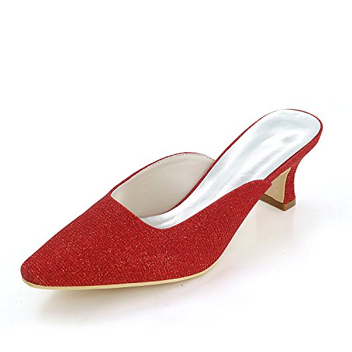 Flower Base Pointu Femmes Red Ager Printemps De Pompe Talon Bout 5 De 2 Chaussures De Chunky Été 5 Cm EU35 Glitter Chaussures Mariage 17 Pouces Et Talons Soirée O8nO5xdqwr