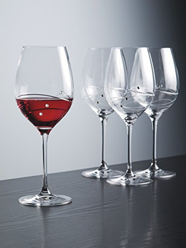 Barski - Handmade Glass - Sparkle - Red Wine Glass - Decorated with Real Swarovski Diamonds - Gift Boxed - 16 oz. - Made in Europe - Set of 4