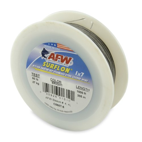 American Fishing Wire Surflon Nylon Coated 1x7 Stainless Steel Leader Wire, Bright Color, 60 Pound Test, 1000-Feet ()