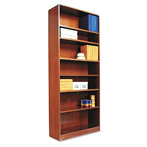 Alera BCR78436MC Radius Corner Wood Bookcase, Seven-Shelf, 35-5/8 x 11-3/4 x 84-Inch, Medium Cherry