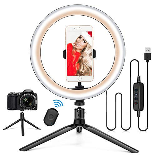 "10.2"" Ring Light with Stand & Phone Holder and Remote Control, Dimmable Desk Makeup Selfie LED RingLight Perfect for Live Streaming/YouTube/Video Recording/Photography, Compatible with iPhone/Android"