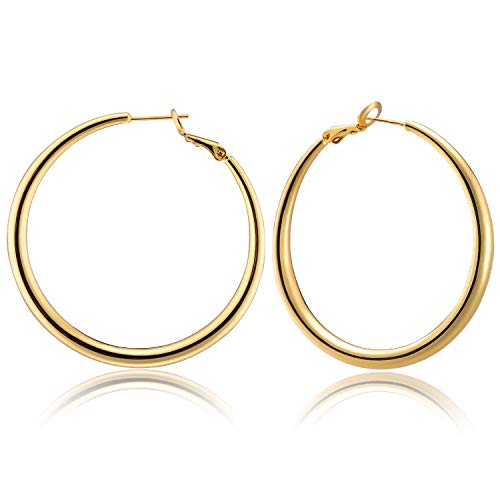 Enameljewelries Brass Tube Hoop Earrings 14K Big Gold Plated Loop Round Earrings with Hypoallergenic 925 Silver Post for Women Girls (H6#Hoop) ()
