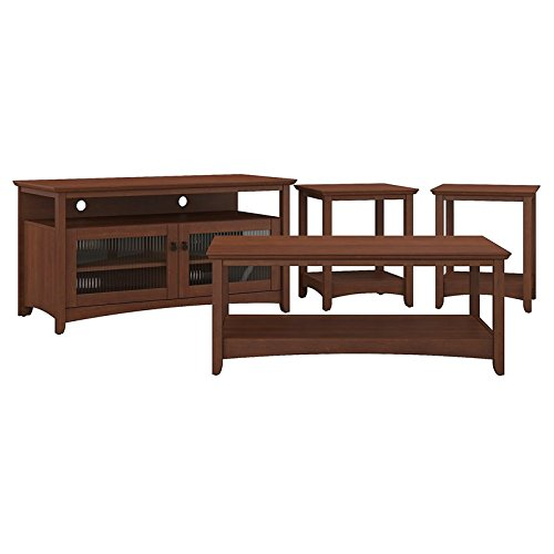 Bush Furniture Buena Vista TV Stand, Coffee Table and Set of 2 End Tables in Serene Cherry Bush Furniture Tv Stand