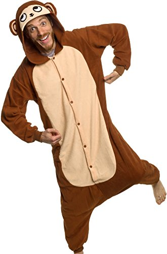 Silver Lilly Adult Pajamas - Plush One Piece Cosplay Monkey Animal Costume (L) -