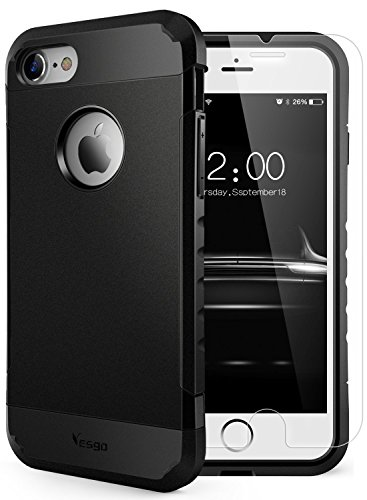 iPhone 7 Case Shockproof, Slim Anti-Scratch Protective Kit with [Tempered Glass Screen Protector] Heavy Duty Dual layer Rugged Case Non-slip Grip Protection Cover for iPhone 7-Matte Black