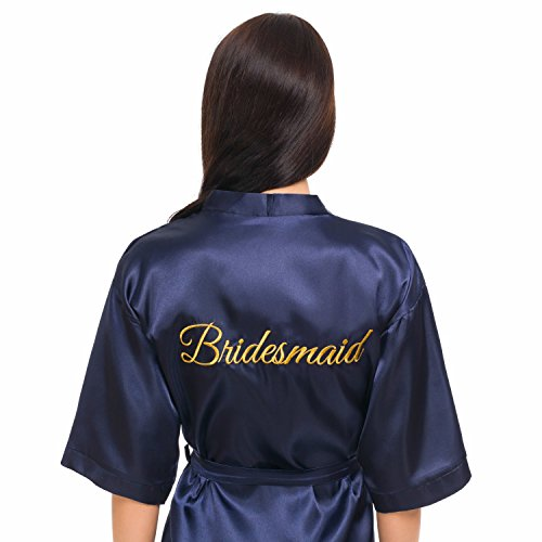 INeedThisRobe Satin Embroidered Kimono Robe for Bride, Bridesmaid, Maid of Honor (Navy - Bridesmaid in Gold, XS-M)