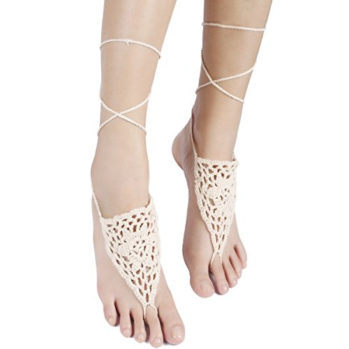 Sealike Crochet Barefoot Sandals Wedding Beach Shoes Footless Sandles with Stylus Khaki