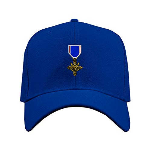Baseball Hat Distinguished Service Cross Embroidery Unit Acrylic Structured Cap Hook & Loop - Royal Blue, Design Only